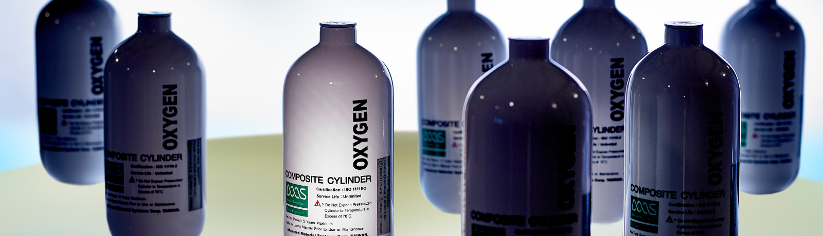 A selection of oxygen cylinders made from carbon fibre composite