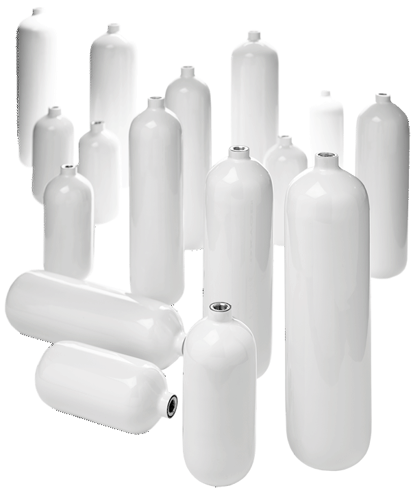 Various lightweight carbon composite cylinders for speciality markets