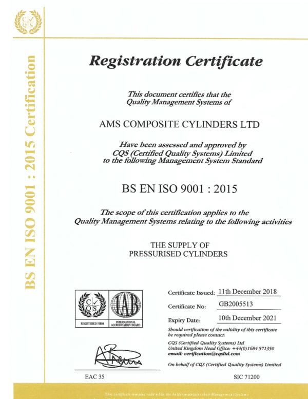 ISO9001 certified supplier of lightweight composite cylinders